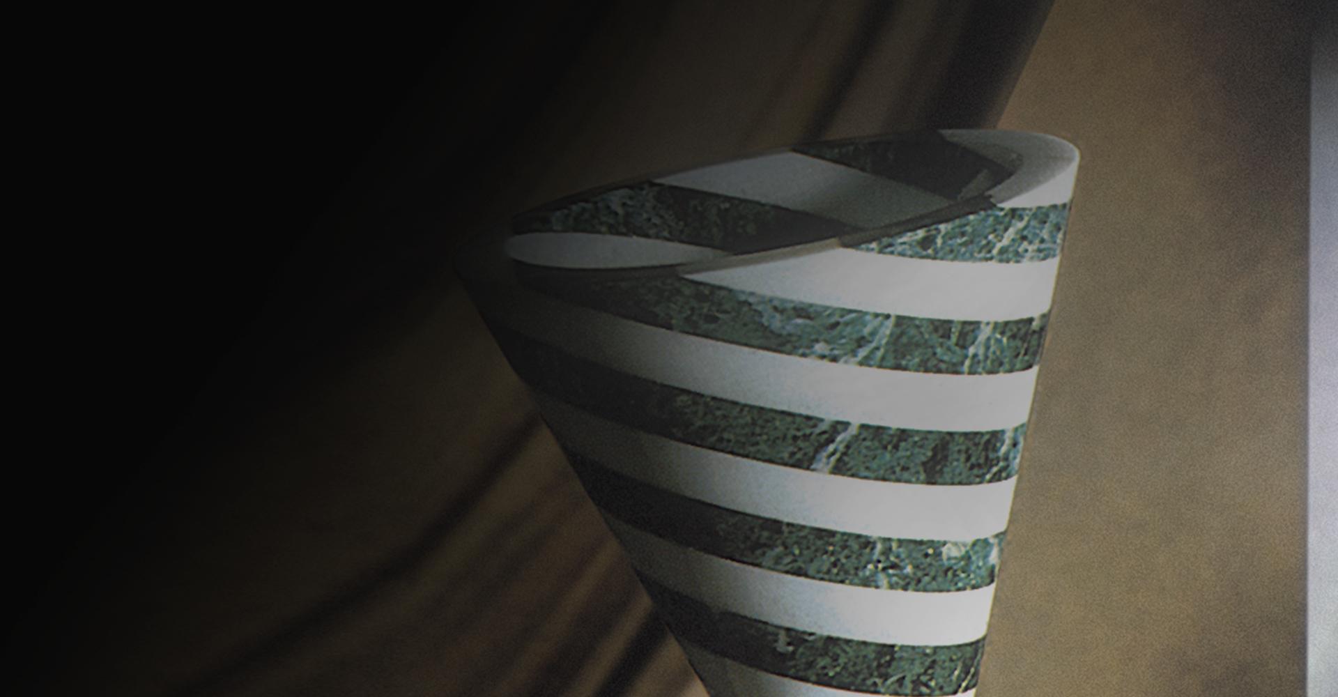 Vasi in marmo bianco e verde - cono in marmo