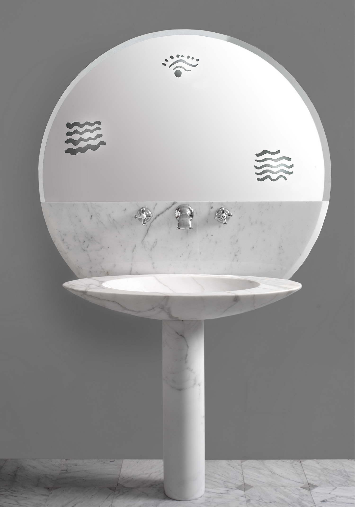 Lavabo con Specchio, Bianco Carrara, Matteo Thun