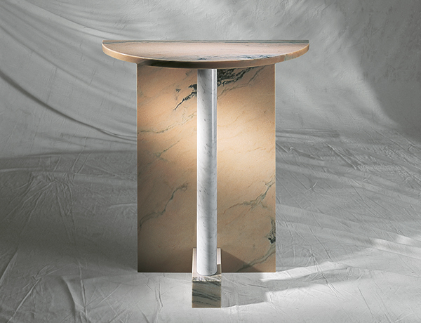 JOBST CONSOLLE Consolle in marmo, Design Jobst, Bianco Carrara, Rosa Portogallo