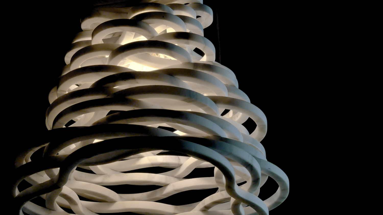 Annika lampada da tavolo a sospensione in marmo Calacatta Carrara, Paolo Ulian